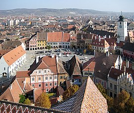 Sibiu's historic city center, looking east