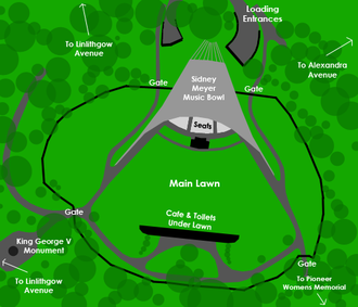 Sidney Myer Music Bowl - A map of the Sidney Myer Music Bowl