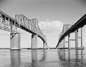 John P. Grace Memorial Bridge - Grace Memorial Bridge is on the left and the Pearman Bridge is on the right