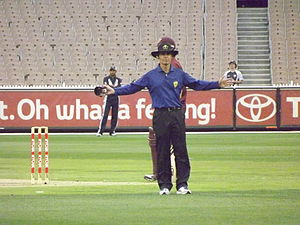 Simon Fry - Simon Fry umpiring at the MCG