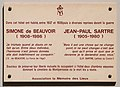 Simone de Beauvoir, Jean-Paul Sartre plaque - 24 rue de Cels, Paris 14.jpg