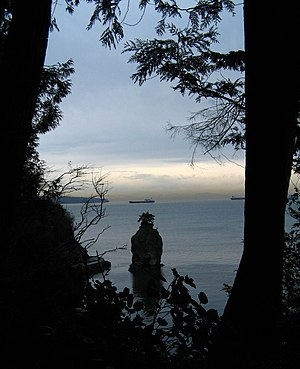 Stanley Park - View of Siwash Rock taken from the forest trail above.