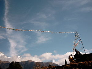 Buddhism in Nepal - Buddhist prayer flags in Nepal.