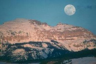 Bridger-Teton National Forest - Moonrise over Sleeping Indian Peak Bridger-Teton National Forest