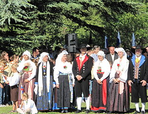 Karst Plateau - Traditional Karst folk costumes in a Slovenian commemorative celebration in Basovizza near Trieste