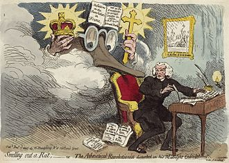 "Edmund Burke - Smelling out a Rat;—or—The Atheistical-Revolutionist disturbed in his Midnight ""Calculations"" (1790) by Gillray, depicting a caricature of Burke holding a crown and a cross; the seated man, Dr. Richard Price, is writing ""On the Benefits of Anarchy Regicide Atheism"" beneath a picture of the execution of Charles I of England."