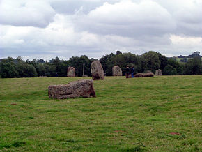 Large stones, some lying and some standing on end in grassy area