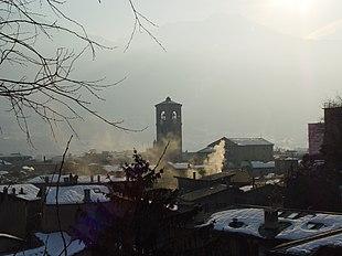 Panorama su Sondrio con la chiesa Collegiata