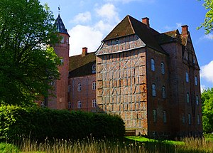 Sostrup Castle - Rear - temporary timber framed gable that became permanent, as a fourth wing was never built