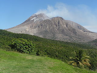 Soufrière Hills mountain, a volcano on Montserrat in the Caribbean
