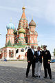 Soyuz TMA-13M crew in front of St. Basil's Cathedral in Moscow.jpg