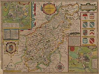 Northamptonshire - John Speed's 17th century map of Northamptonshire