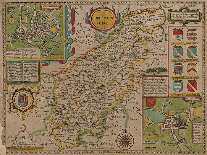 The historic boundaries of the county shown in John Speed's map of the county in his Theatre of the Empire of Great Britaine, c. 1611. A depiction of the town of Northampton is inset in the top left, and the city of Peterborough in the bottom right. Speed Northampton.jpg