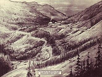 Kicking Horse Pass - Image: Spiral Tunnels 1908 Kodak