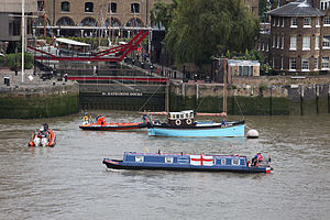 St Katharine Docks - Boats waiting to enter from the Thames, September 2011