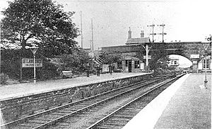 St Lawrence for Pegwell Bay railway station - Platforms and Newington Bridge with station building behind