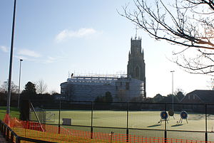 Chatham House Grammar School - St. Georges Church presides over the school's newly installed astroturf.