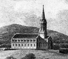 Engraving of a church with a steeple on the right, and the body of the church on the left
