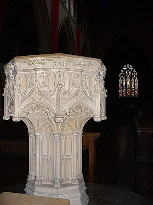 St Martin's Church, Dorking - Image: St Martin's Font geograph.org.uk 1050234