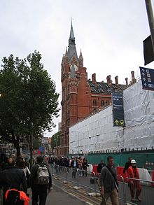 St Pancras station spires; in the foreground is the trainshed undergoing renovation.