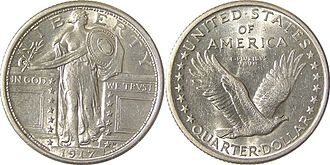 Hermon Atkins MacNeil - The Standing Liberty Quarter (1916), has the initial of designer Hermon Atkins MacNeil on its face above the date.