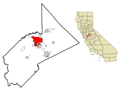 Stanislaus County California Incorporated and Unincorporated areas Modesto Highlighted.svg
