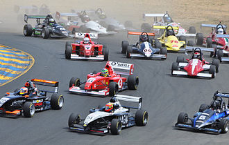 Formula Car Challenge - FCC racers charge into turn 2 at Infineon Raceway