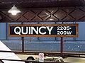 Station sign at Quincy station, December 2018.JPG