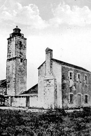 Anastasia Island - Original Anastasia Island lighthouse, now destroyed. Lower parts of the coquina tower dated to the First Spanish Period.