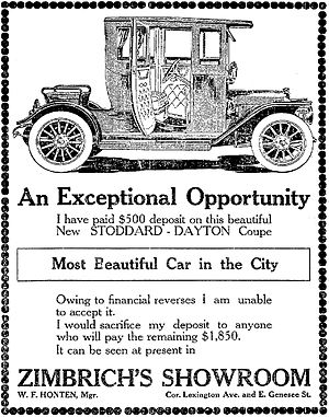 Stoddard-Dayton - A 1911 Stoddard-Dayton Advertisement - Syracuse Post-Standard, November 6, 1922