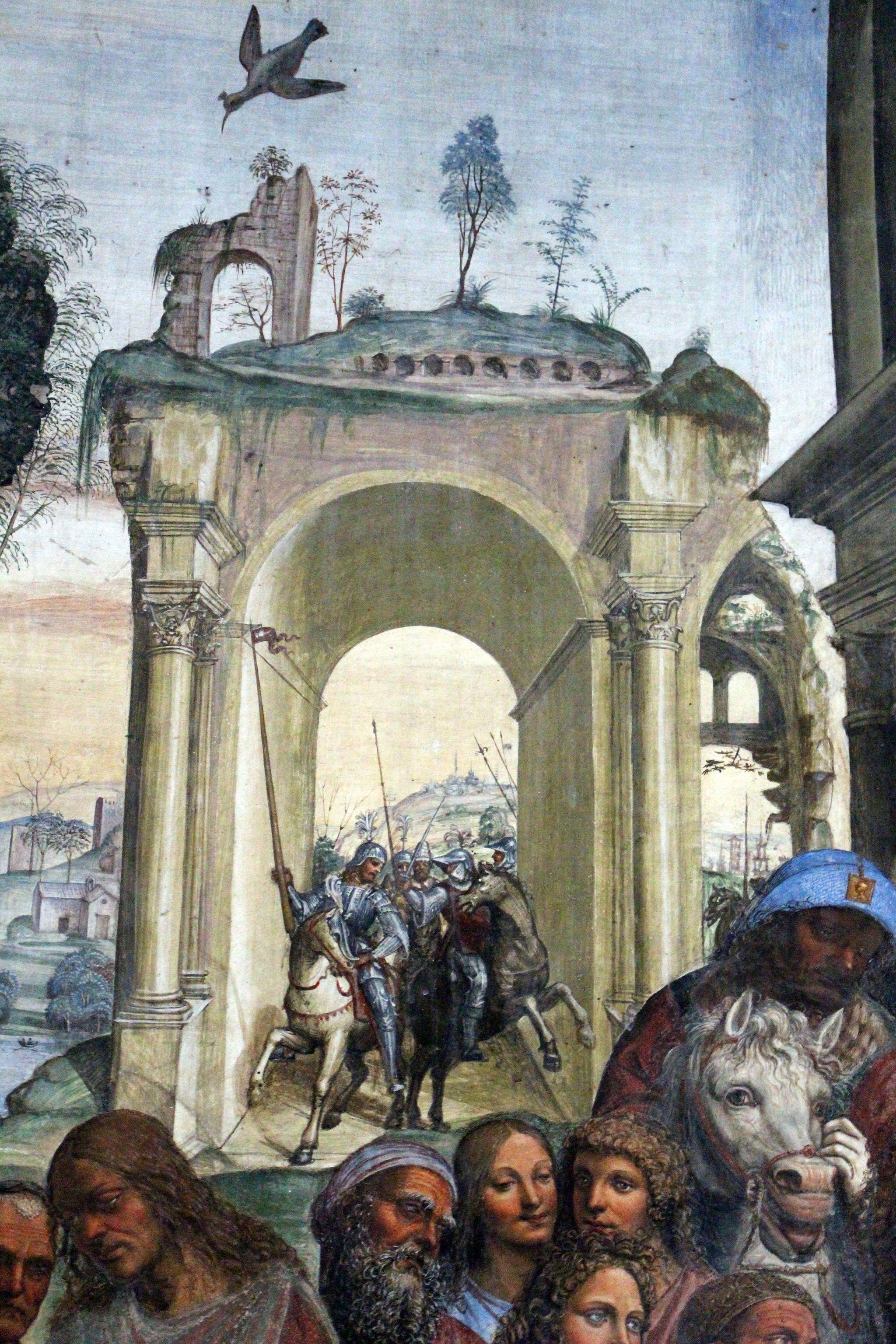 Il Sodoma, Le storie di San Benedetto, Scena 11 - Come Benedetto compie la edificazione di dodici monasteri (particolare), Chiostro grande del monastero di Monte Oliveto Maggiore