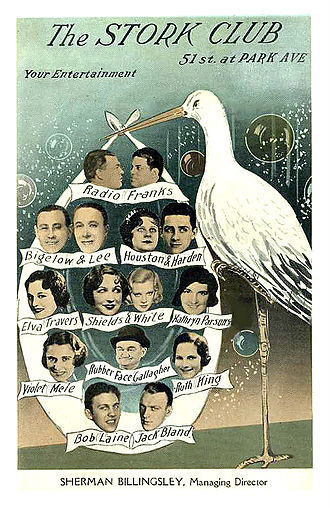 Stork Club - Postcard sent by the club when it was on East 51st Street and still had live entertainment
