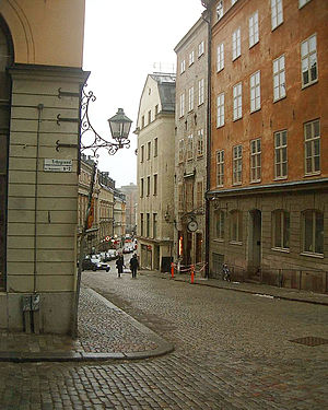 Storkyrkobrinken - View from the eastern end of Storkyrkobrinken with the Swedish House of Lords discernible in the background. March 2007.