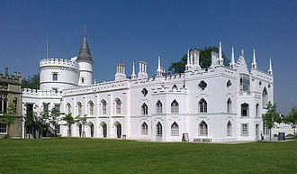 "Gothic Revival architecture - Strawberry Hill House, Twickenham, London; a highly influential milestone in Gothic Revival, 1749 by Horace Walpole (1717–1797). It set the ""Strawberry Hill Gothic"" style."