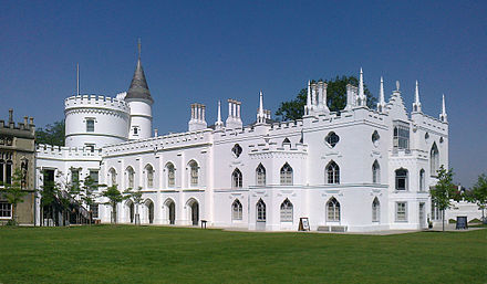 "Strawberry Hill House, Twickenham, London; a highly influential milestone in Gothic Revival, 1749 by Horace Walpole (1717-1797). It set the ""Strawberry Hill Gothic"" style. Strawberry Hill House from garden in 2012 after restoration.jpg"