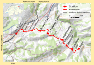 St. Gallen–Trogen railway line - Map of the line
