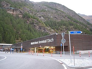 Täsch - The main way to reach the car-free town of Zermatt and the Matterhorn is through the Matterhorn station in Täsch