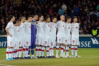 Switzerland national football team - The Switzerland national team line-up before the a friendly match against Argentina, 29th February 2012. Switzerland lost 1–3.