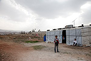 Syrian refugee camps - A winter tent in Lebanon's Bekaa Valley