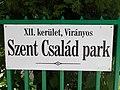 Szent Család park, névtábla, 2018 Virányos.jpg