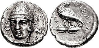 Larissa - Coinage of Thessaly, possibly king Hellokrates, with portrait of Aleuas. Obv: Head of Aleuas facing slightly left, wearing conical helmet, ALEU to right; labrys behind. Rev: Eagle standing right, head left, on thunderbolt; ELLA to left, LARISAYA to right. Thessaly, Larissa. Circa 370-360 BC