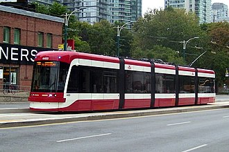 Toronto streetcar system - The Flexity Outlook low-floor streetcars began to  enter service on August 31, 2014. Car 4400 is seen here on route 510 Spadina that September.