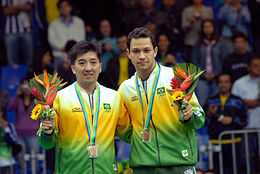 Table Tennis Singles Bronze Podium Rio 2007.jpg