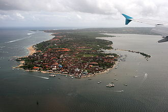 Nusa Dua - The Peninsula of Tanjung Benoa, with the village of Benoa in the foreground and Nusa Dua in the background.