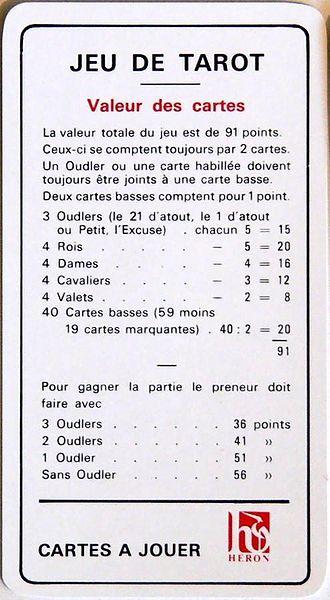 French tarot - Card values in French tarot