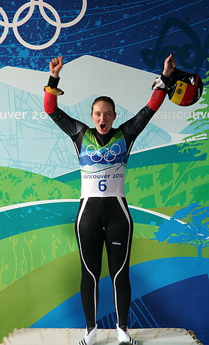 Whistler Sliding Centre - German luger Hüfner celebrating at the Sliding Centre following her gold in the women's singles event at the 2010 Winter Olympics on 16 February.