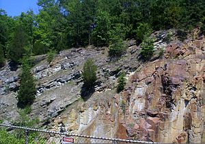 Ozark Plateaus - Grey dolomite laid down c. 500 mya nonconformally overlies reddish rhyolite that formed close to 1500 mya in the St. Francois Mountains.