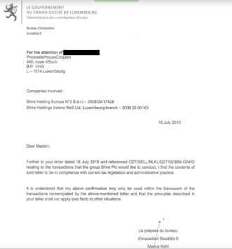 Luxembourg Leaks - One of the leaked tax rulings signed by Marius Kohl