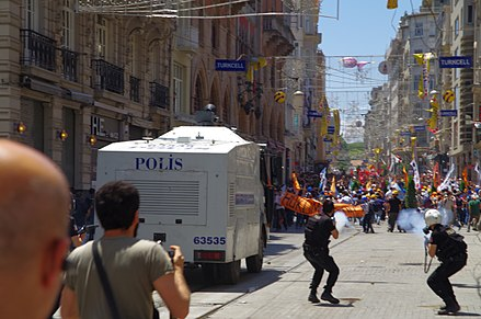 TOMA vehicles with water cannons were widely used by police Tear Gas used on İstiklâl Caddesi near Taksim Square - Gezi Park, İstanbul - Flickr - Alan Hilditch.jpg