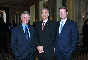 Horace Newcomb - Newcomb (center) with ABC's Ted Koppel and David Westin at the 2002 Peabody Awards luncheon